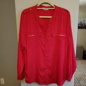 👚 Calvin Klein Red Long Sleeve Blouse - XL